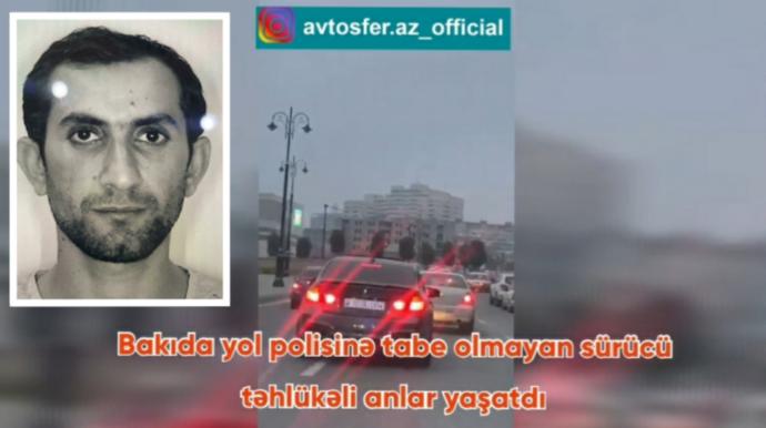 """Bakıda yol polisindən qaçan """"BMW"""" sürücüsü təhlükə saçdı –VİDEO"""