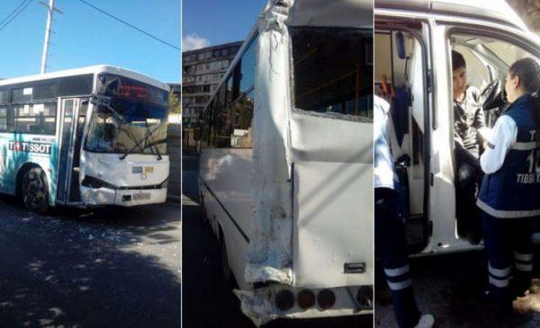 Bakıda iki sərnişin avtobusu toqquşdu – 15 yaralı / FOTOLAR