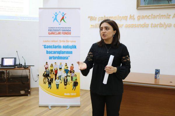 """""""Gənclərin natiqlik bacarıqlarının artırılması"""" layihəsinin təlimlərinə yekun vurulub – FOTO"""